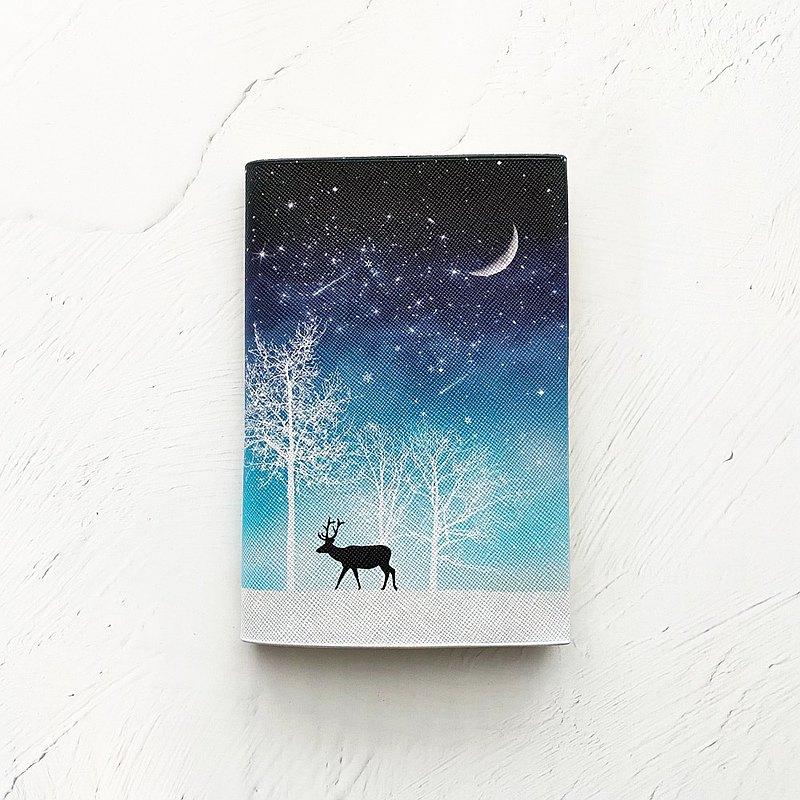 書的封面冬天的星空/鹿/書的平裝書銀河星的星空夜空月亮月牙新月流星流星雪冬天水晶