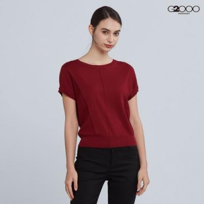G2000時尚素面短袖針織衫-酒紅色