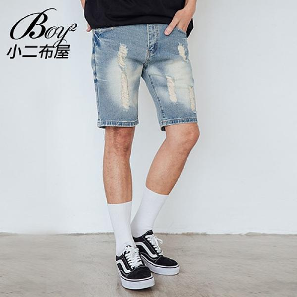 牛仔短褲 韓版水洗刷破抽鬚丹寧五分褲【NW611002】