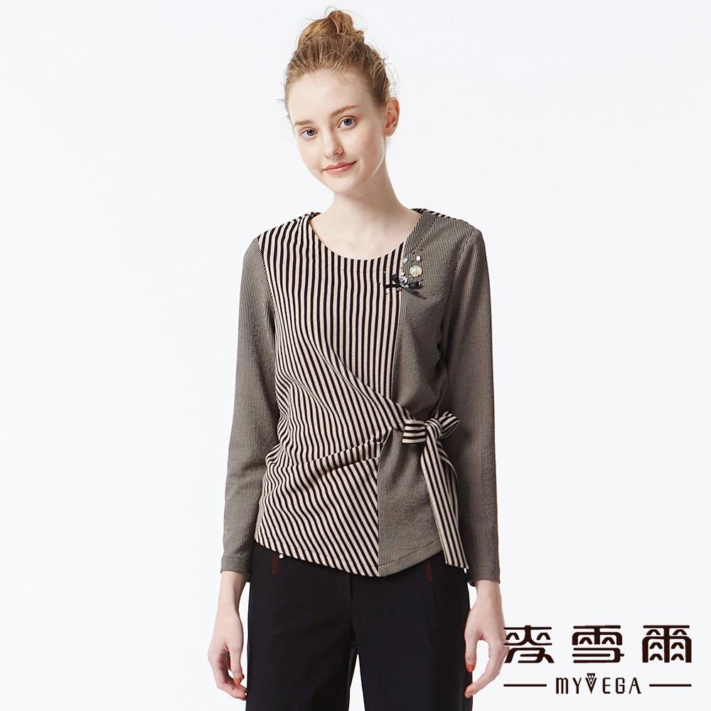【麥雪爾】直條紋拼接造型上衣-黑