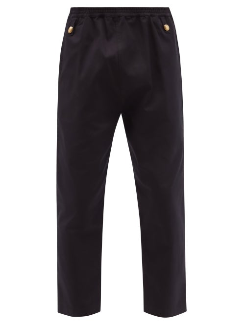 Stefan Cooke - Waxed Cotton-twill Cropped Trousers - Mens - Navy