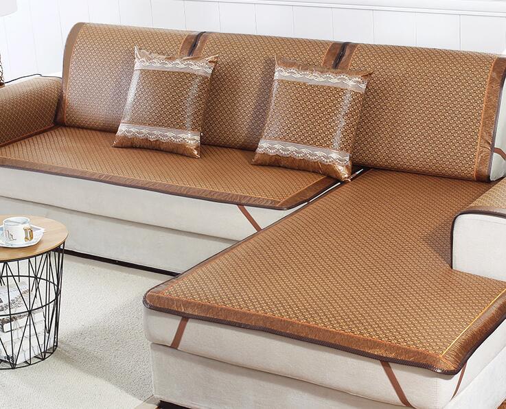 夏季沙發墊涼席墊夏天款客廳四季通用坐墊藤席子冰絲防滑沙發套罩