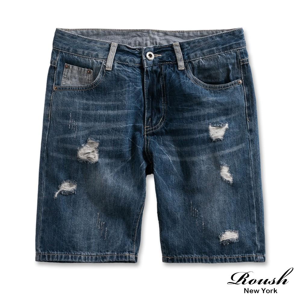 Roush - 破壞感水洗刷色牛仔短褲【9929】
