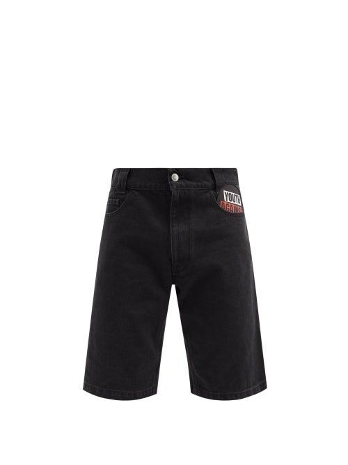 Raf Simons - Youth Against-appliqué Denim Shorts - Mens - Black