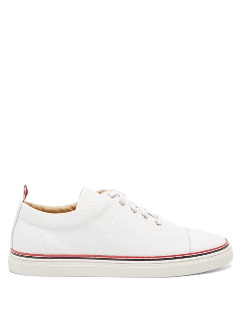 Thom Browne - Tricolour-stripe Leather Trainers - Mens - White