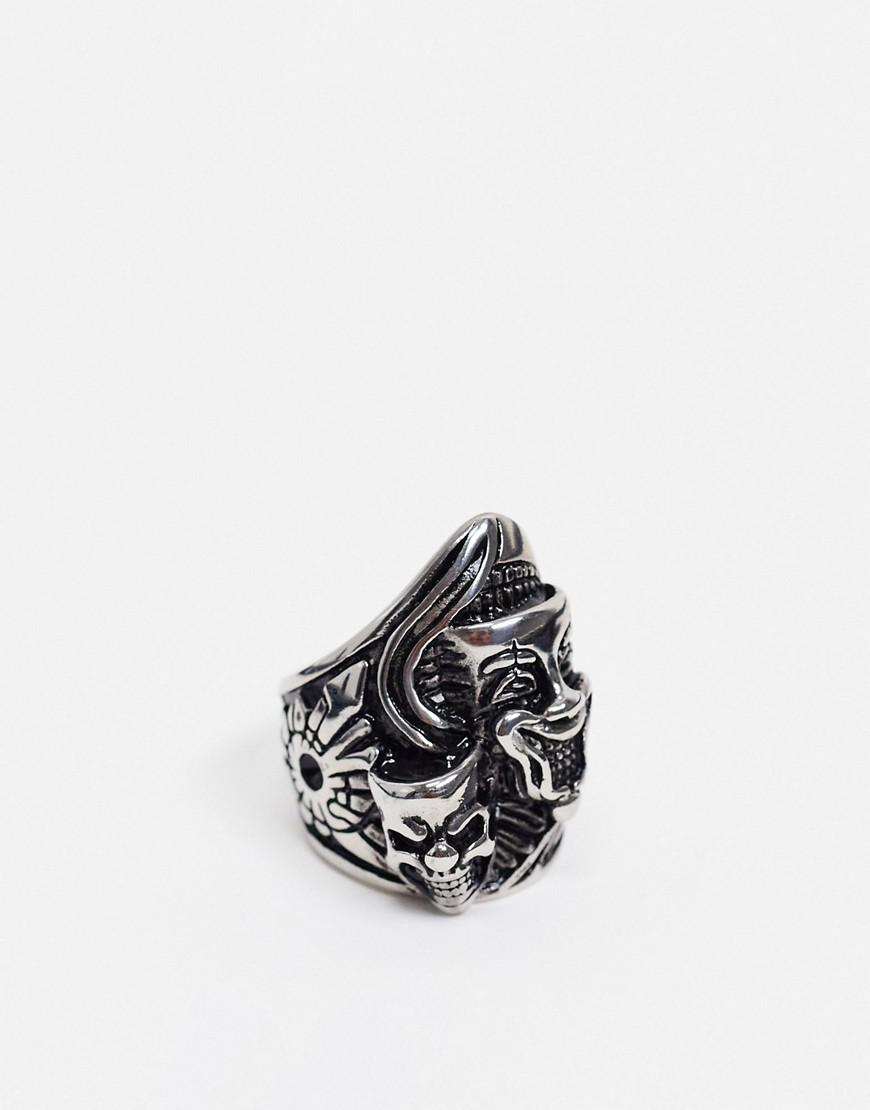 ASOS DESIGN stainless steel ring with creepy mask design in silver tone
