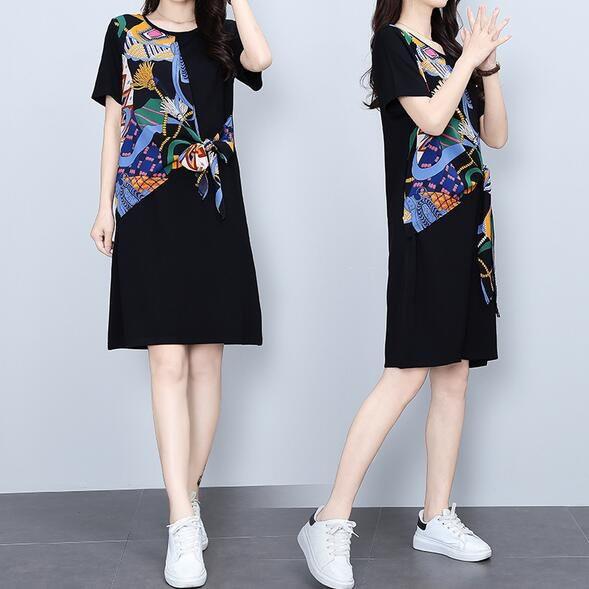 洋裝 連身裙 中大尺碼M-4XL新款假兩件拼接中裙小個子遮肚顯瘦大碼T卹裙 4F101-8860.胖胖美依