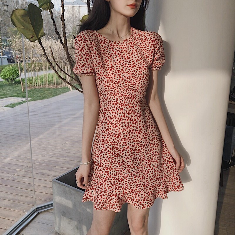 夏季法式初戀碎花學生修身連衣裙女中長款仙女裙小個子裙子