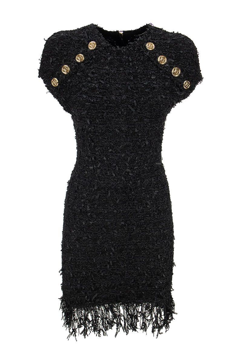 BALMAIN Short black tweed dress with fringe