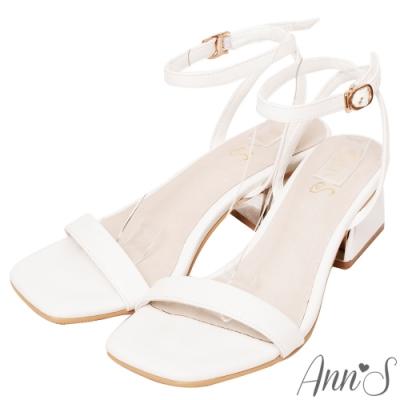 Ann'S不踩雷美腿製造機一字帶涼鞋-訂製金屬夾心粗跟-細帶4公分-白