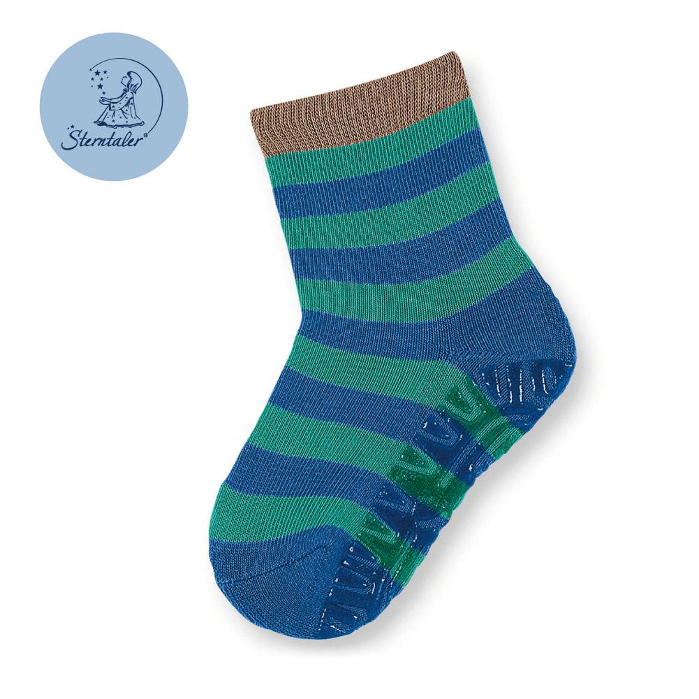 STERNTALER 雙色條紋防滑厚底學步襪-藍綠