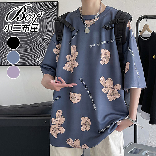 BOY2小二布屋【NQ920115】情侶短T恤 滿印小熊潮牌風格大尺碼短袖上衣