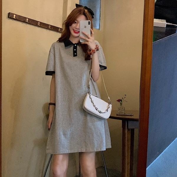 9th street 韓版休閒風雙色拼接連裙(預購)(共兩色)