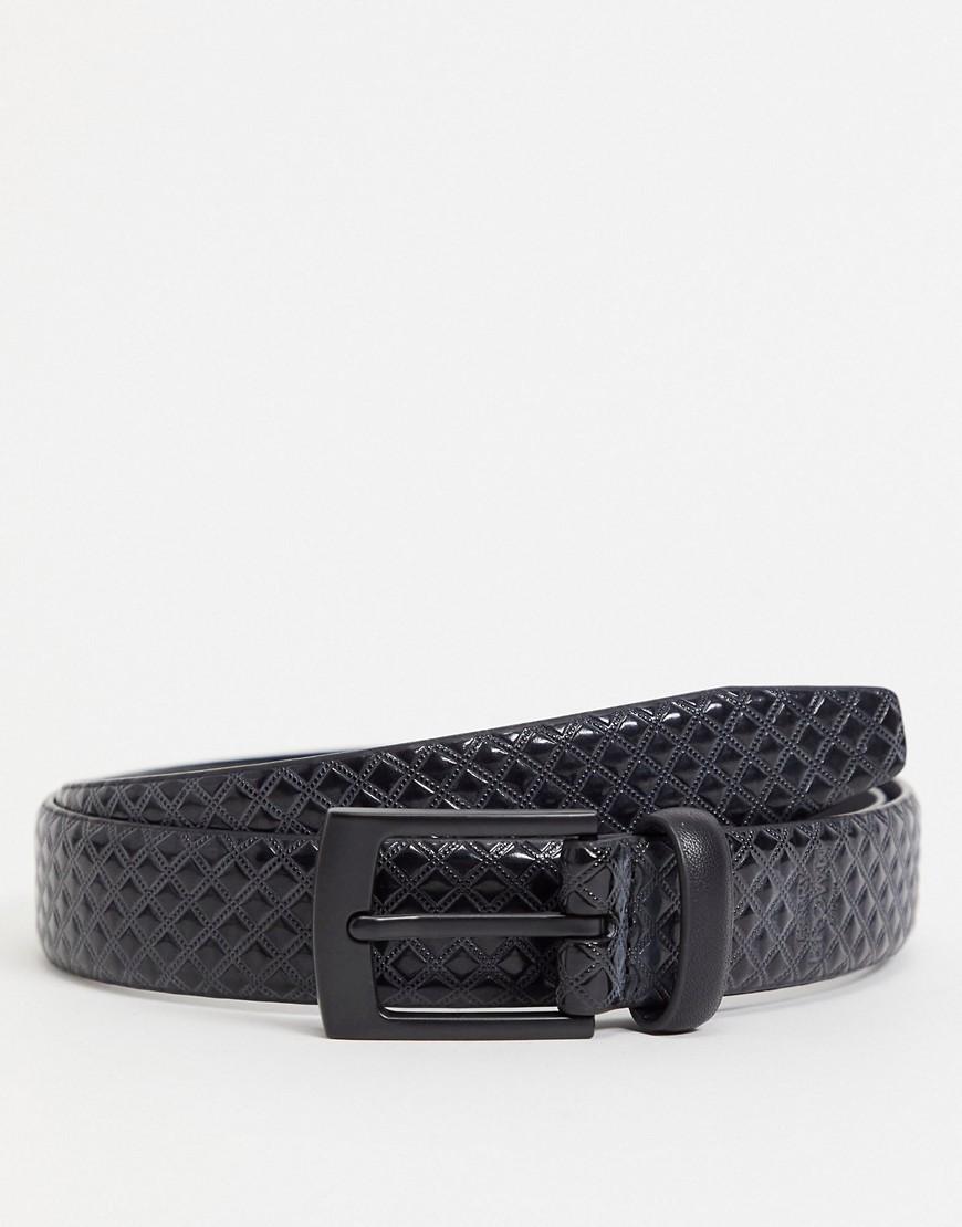Harry Brown textured smart belt-Black