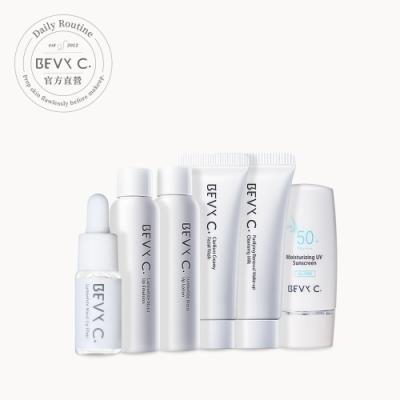 BEVY C. 素顏奇肌─妝前旅行組(卸妝+潔顏+化妝水+精華+修護乳+防曬)