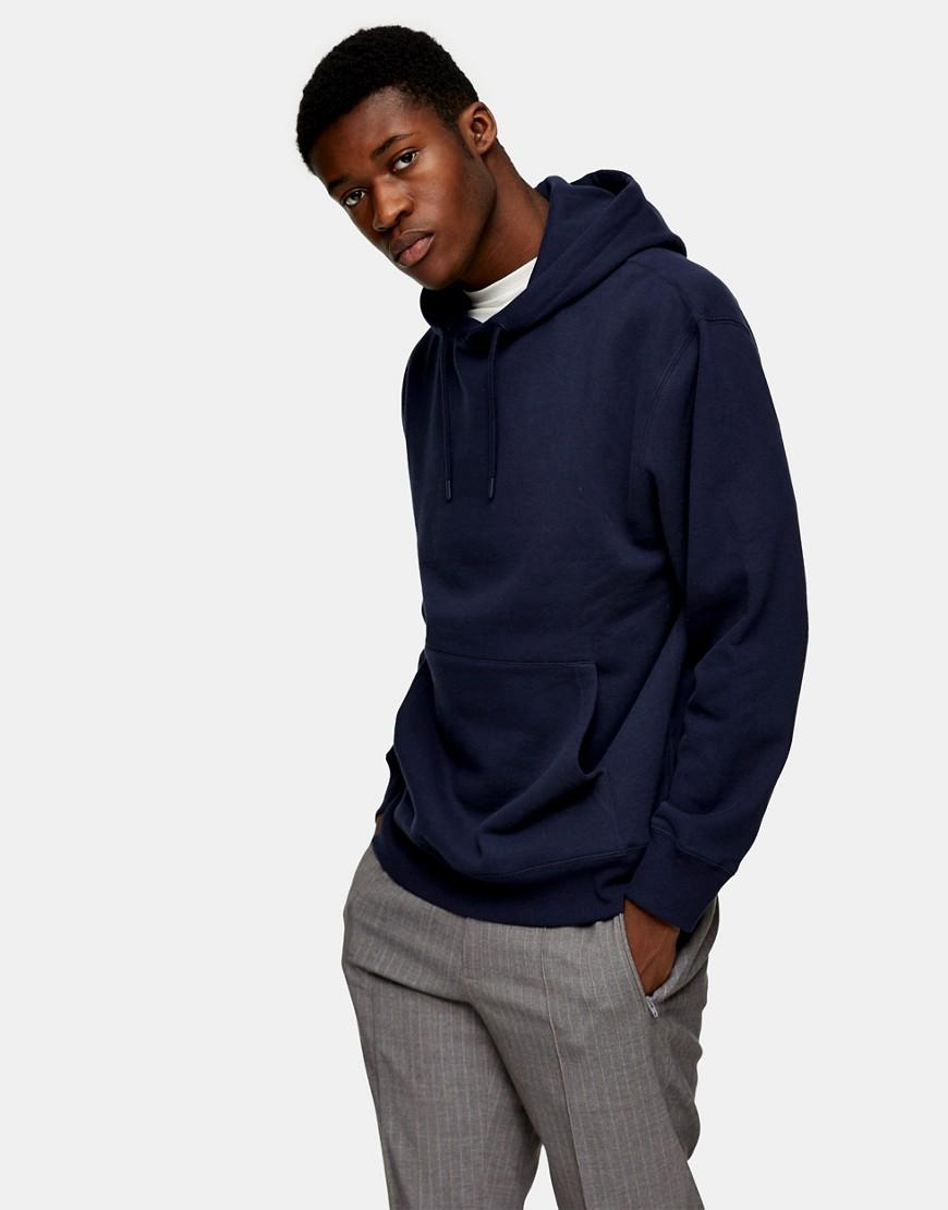Topman classic overhead hoodie in navy