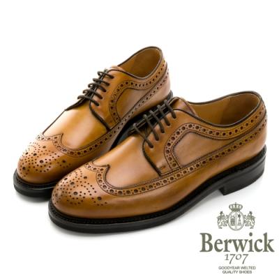 BERWICK西班牙進口-固特異手工縫線鋸齒翼紋雕花牛津鞋 -棕 515028KM