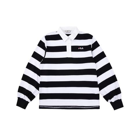 FILA #NEWTRO MANIA 長袖復古橫條紋POLO衫-黑色 5POV-1419-BK