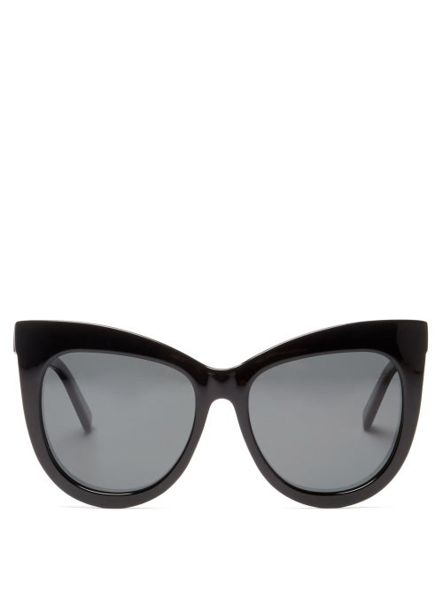 Le Specs - Hidden Treasure Oversized Cat-eye Sunglasses - Womens - Black