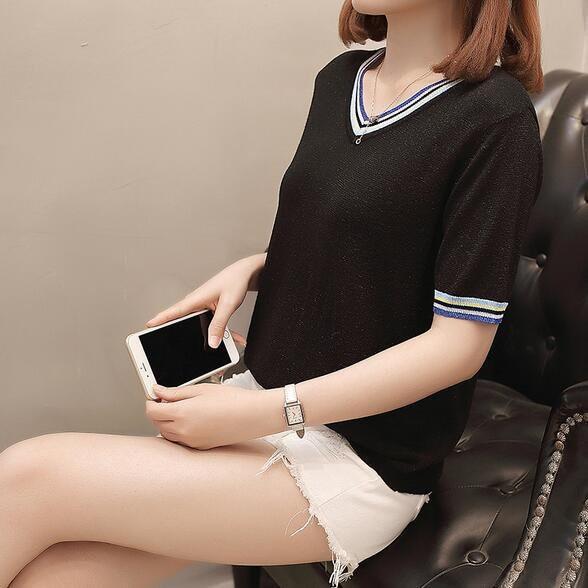 上衣 針織衫 短袖T 中大尺碼 XL-3XL新款大碼V領短袖薄針織衫T卹女加肥加大顯瘦上衣4F114-6690.胖胖美依