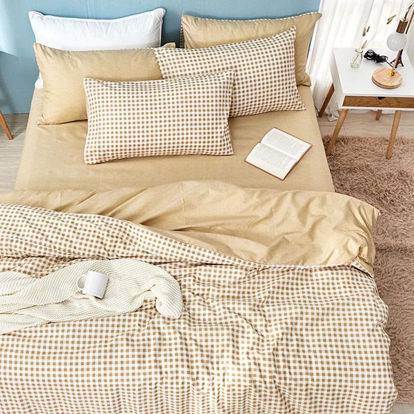 床包枕套組-單人 / 舒柔棉二件式 / 焦糖奶茶