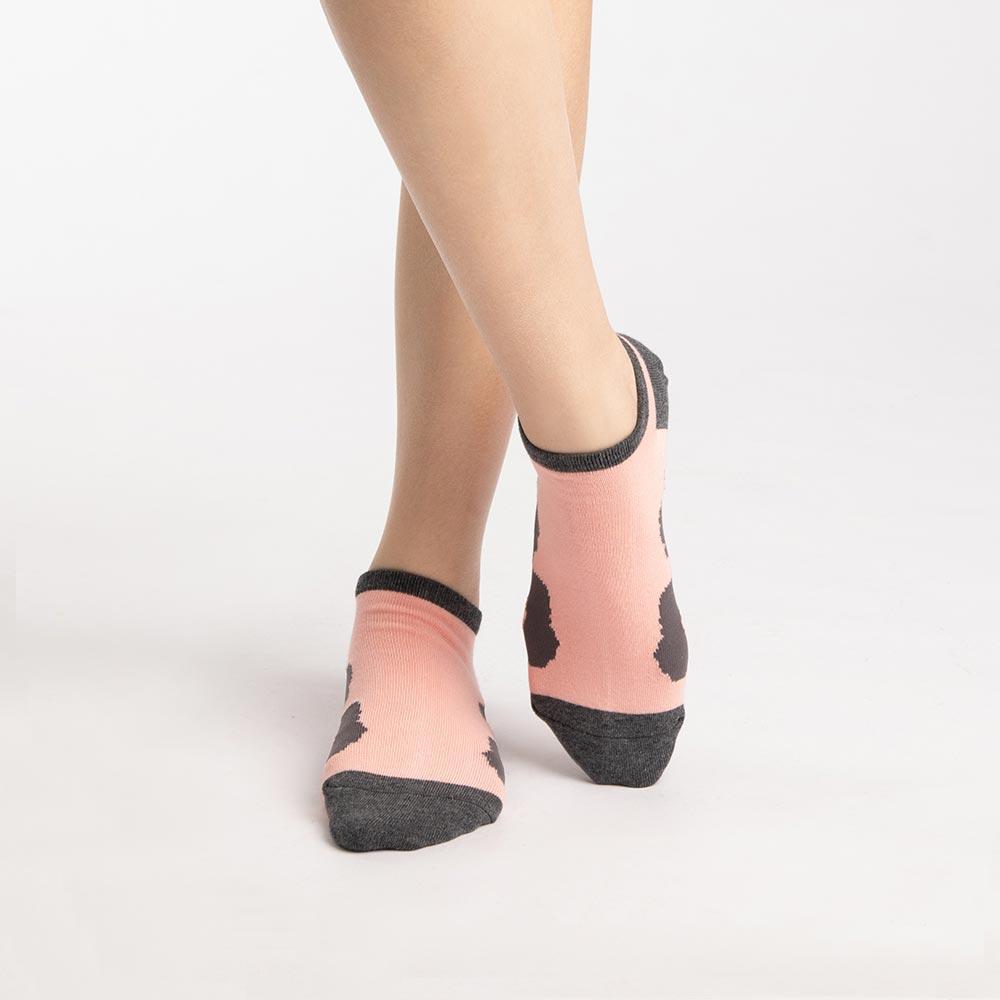 【M號】踩蛋花淑女船型襪-粉 (商品編號:S0519781M)