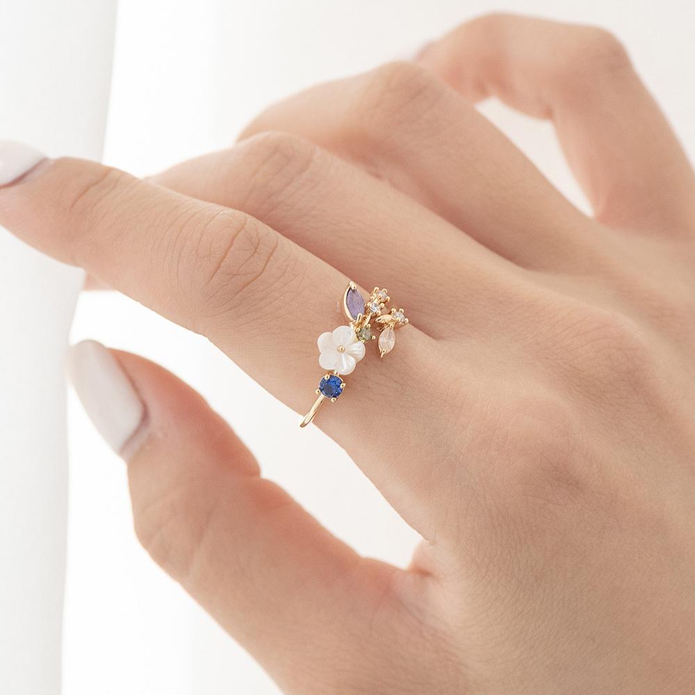 漾彩寶石小白花開口戒指(2色)-C20151