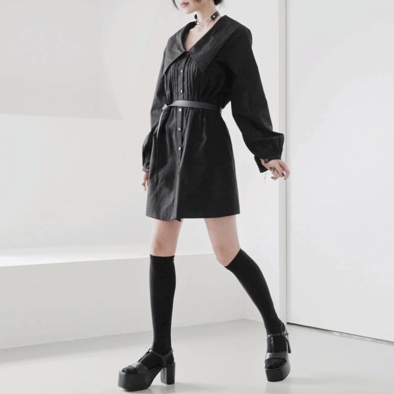 韓國空運 - Honey Big Collar Shirt Dress 迷你短洋裝