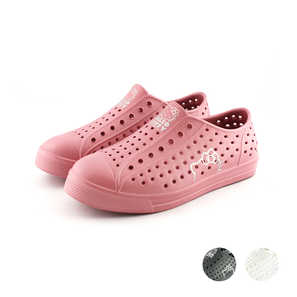 HELLO KITTY艾樂跑女鞋-輕量防水懶人鞋-粉/黑/白(920118)