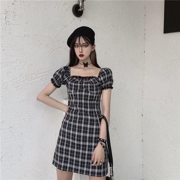 復古韓版泡泡袖網紗拼接格子連衣裙女夏新款氣質赫本風收腰a字裙