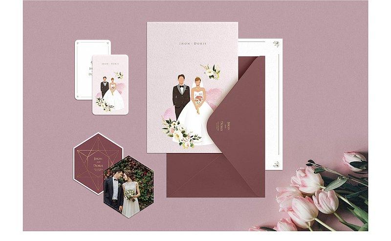 客製婚卡服務-W&W婚卡盛宴-設計映像訂製款-風格B喜帖套裝