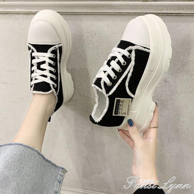 厚底小白鞋女2020新款學生百搭帆布鞋運動休閒松糕鞋增高單鞋女潮
