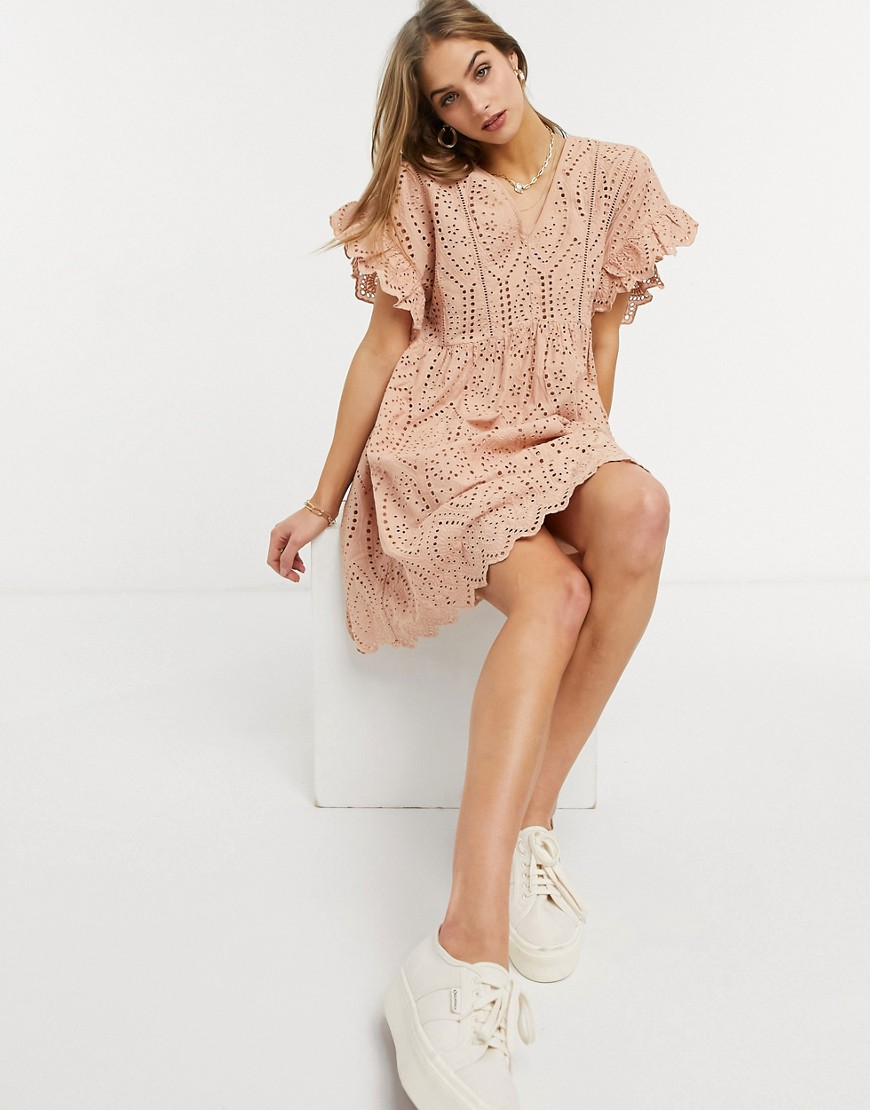 Y.A.S. frill sleeve smock dress in pink-Red