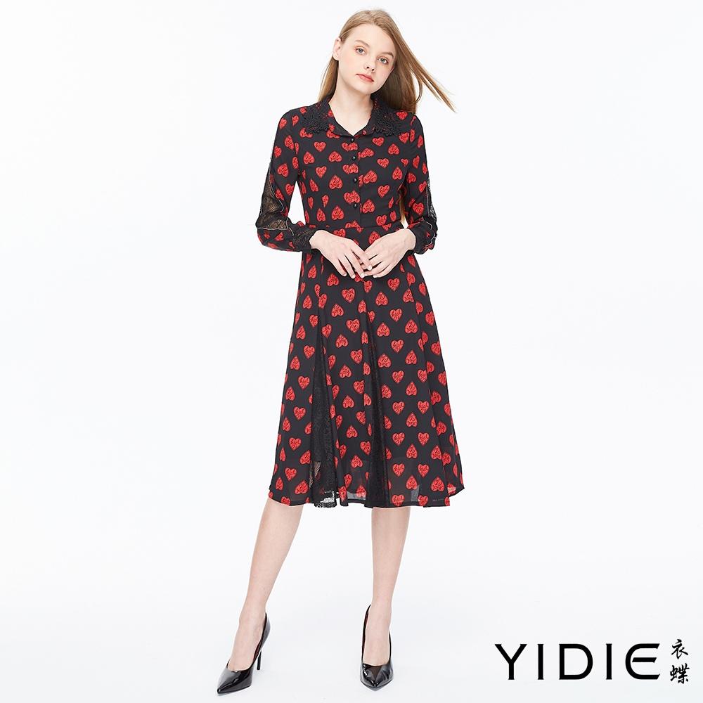【YIDIE衣蝶】愛心圖案拼接蕾絲長洋裝