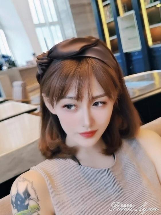 ins簡約蝴蝶結髮箍女韓國網紅氣質寬邊髮卡髮帶百搭外出髮飾頭箍