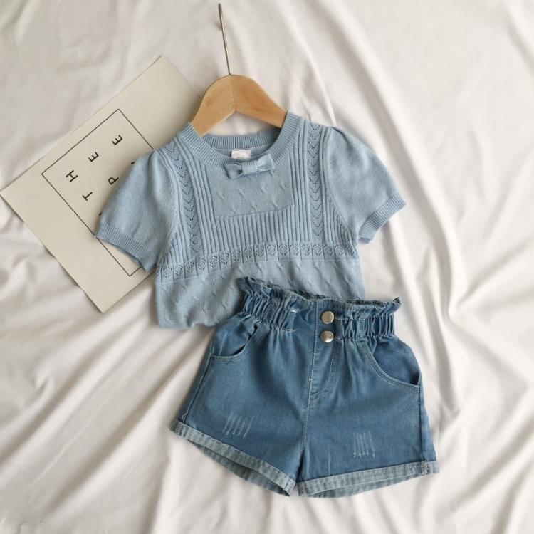 夏女童針織短袖t恤洋氣兒童嬰兒寶寶冰絲短袖韓版t恤小童上衣女薄 愛尚優品