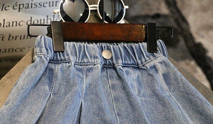 女童牛仔短褲 夏裝新款女童兒童童裝寶寶洋氣寬管牛仔短褲熱褲裙百褶裙褲子 愛尚優品