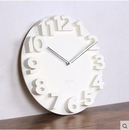 樂天優選 siton現代簡約創意掛鐘客廳3D立體個性鐘錶大號掛錶時尚數字藝術(立體鐘白色)