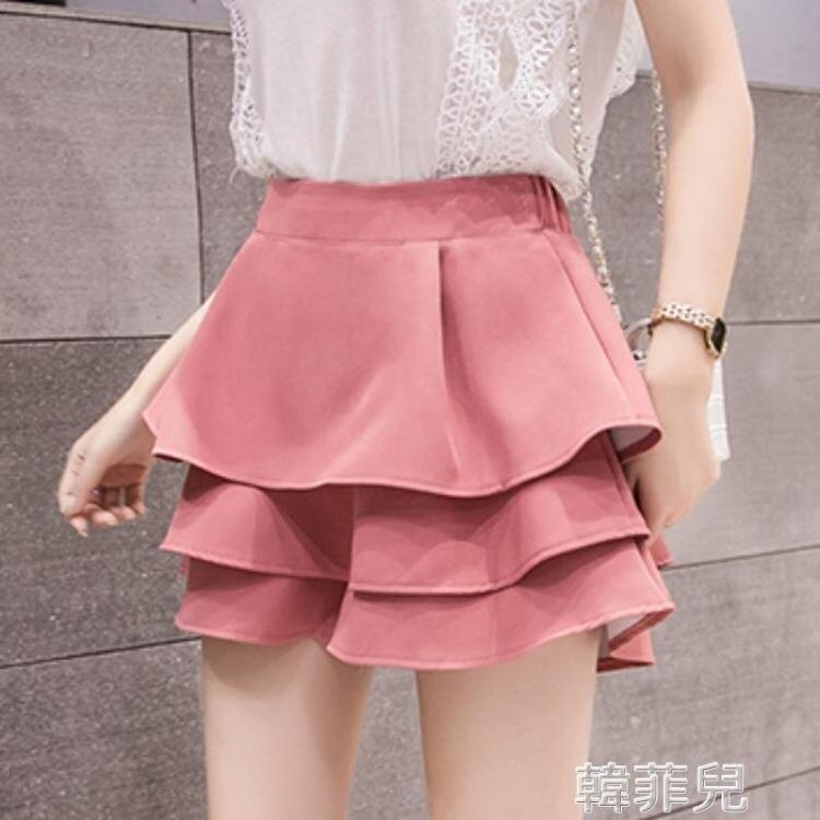 2021夏季新款牛仔褲裙 高腰褲裙夏季新款短褲半身裙女荷葉邊小個子蓬蓬裙a字短裙 2021新款