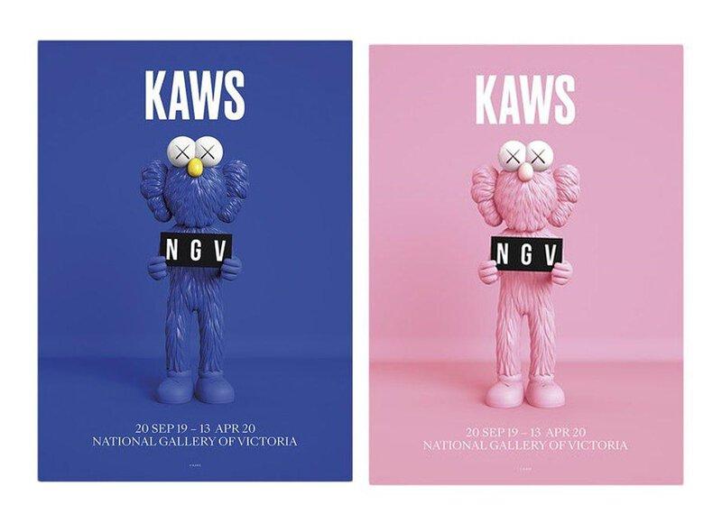 KAWS x NGV BFF 海報 藍+粉 set