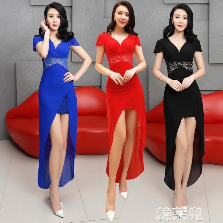透視禮服 浴場桑拿技師服長款連身裙性感顯瘦蕾絲透視夜場工作晚禮服女新款 2021新款