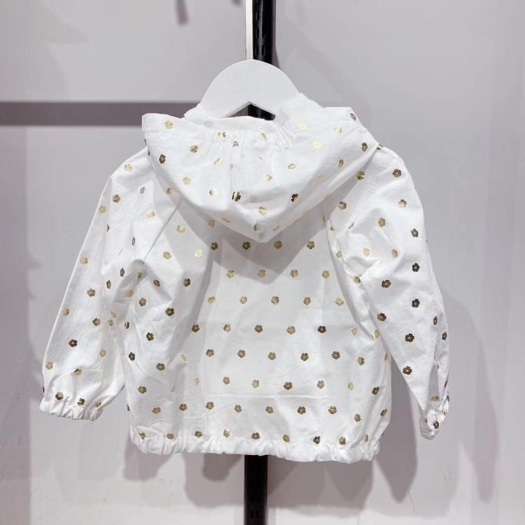 女童防曬衣 韓國春夏季女童燙金白色長袖連帽薄款純棉女孩童防曬服夾克拉鏈衫 愛尚優品