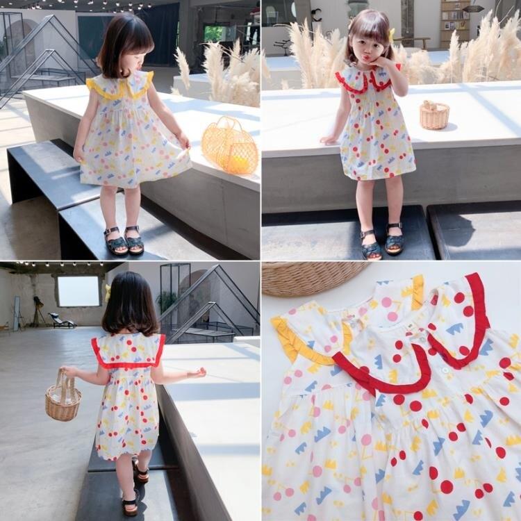 女童洋裝 女童連身裙夏洋氣兒童裙子夏款娃娃領公主裙薄款時髦夏裝寶寶裙子 愛尚優品