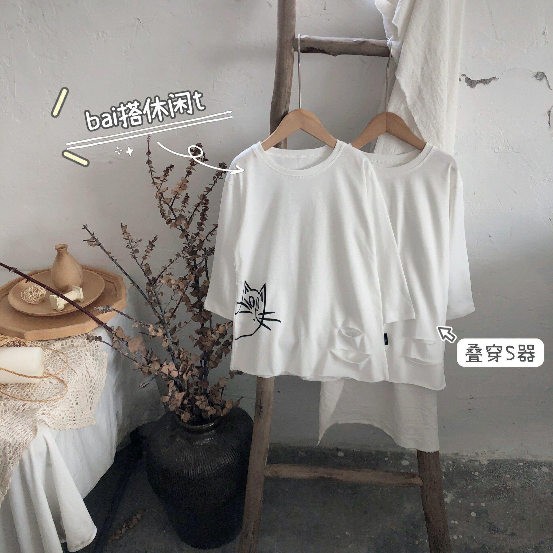 兒童中長款T恤2021夏新款韓版圓領卡通印花男女童打底衫外貿