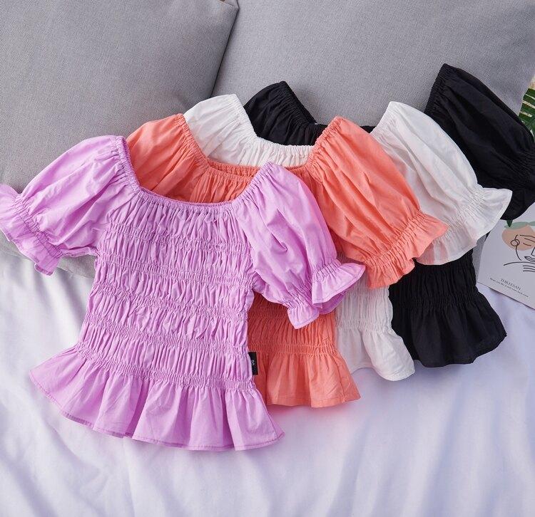 2021夏季新款女童裝韓版短袖T恤女寶寶泡泡袖潮流風皺褶上衣6772 愛尚優品