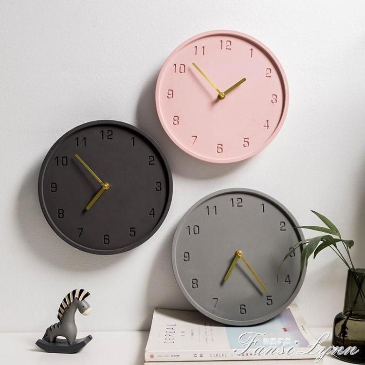 北歐ins客廳掛鐘藝術餐廳極簡鐘錶個性創意簡約現代水泥時鐘掛墻