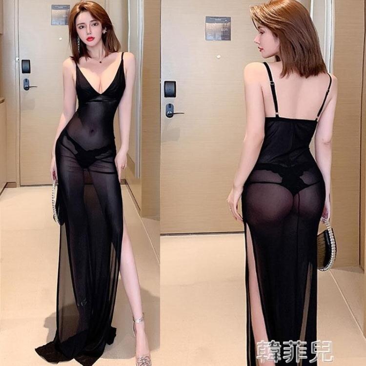 透視禮服 性感透視夜場女裝低胸夜總會禮服顯瘦網紗連身裙KTV佳麗吊帶長裙 2021新款