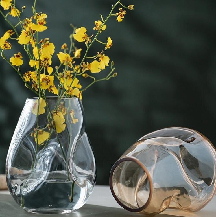 異形不規則輕奢簡約玻璃花瓶擺件北歐客廳創意鮮花水培養干花插器