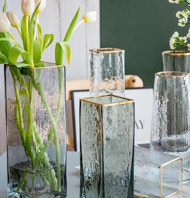 歐式輕奢描金玻璃花瓶透明方口創意水培植物鮮花插花瓶家用擺件