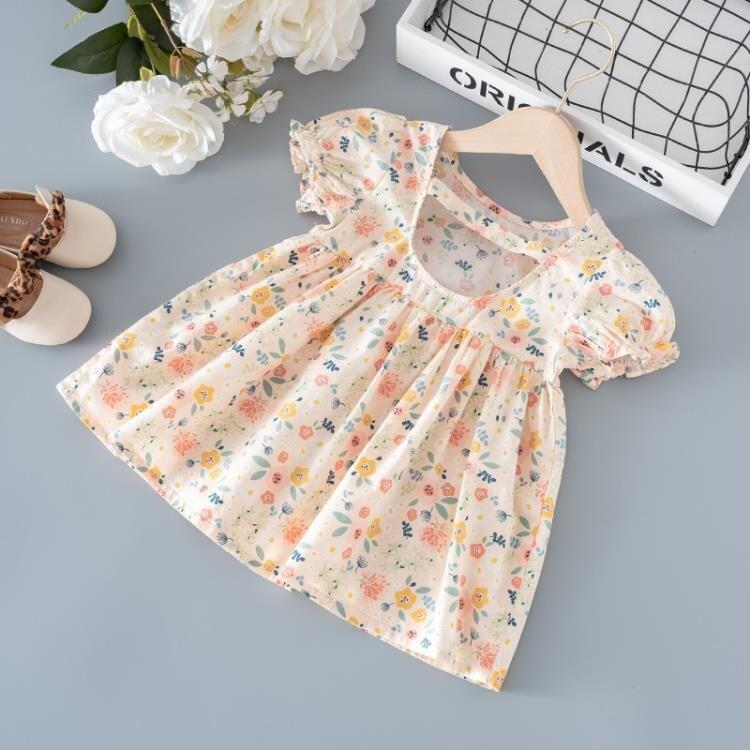 女童洋裝夏季2021新款兒童裝碎花短袖公主裙女寶寶洋氣夏款裙子 愛尚優品